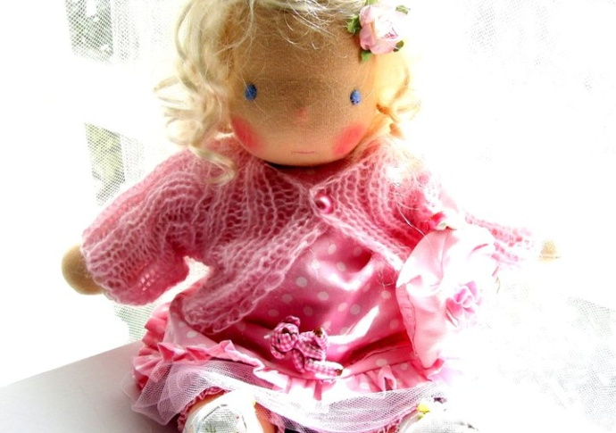 Waldorf doll, Pink outfit by Louie Louie Bebe